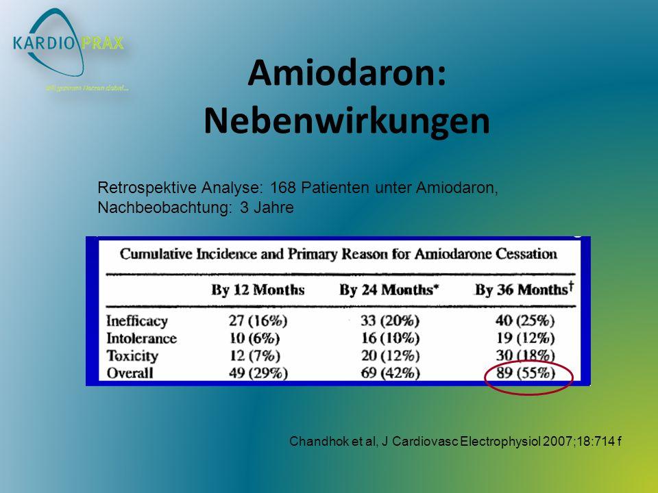 Chandhok et al, J Cardiovasc Electrophysiol 2007;18:714 f Retrospektive Analyse: 168 Patienten unter Amiodaron, Nachbeobachtung: 3 Jahre Amiodaron: Ne