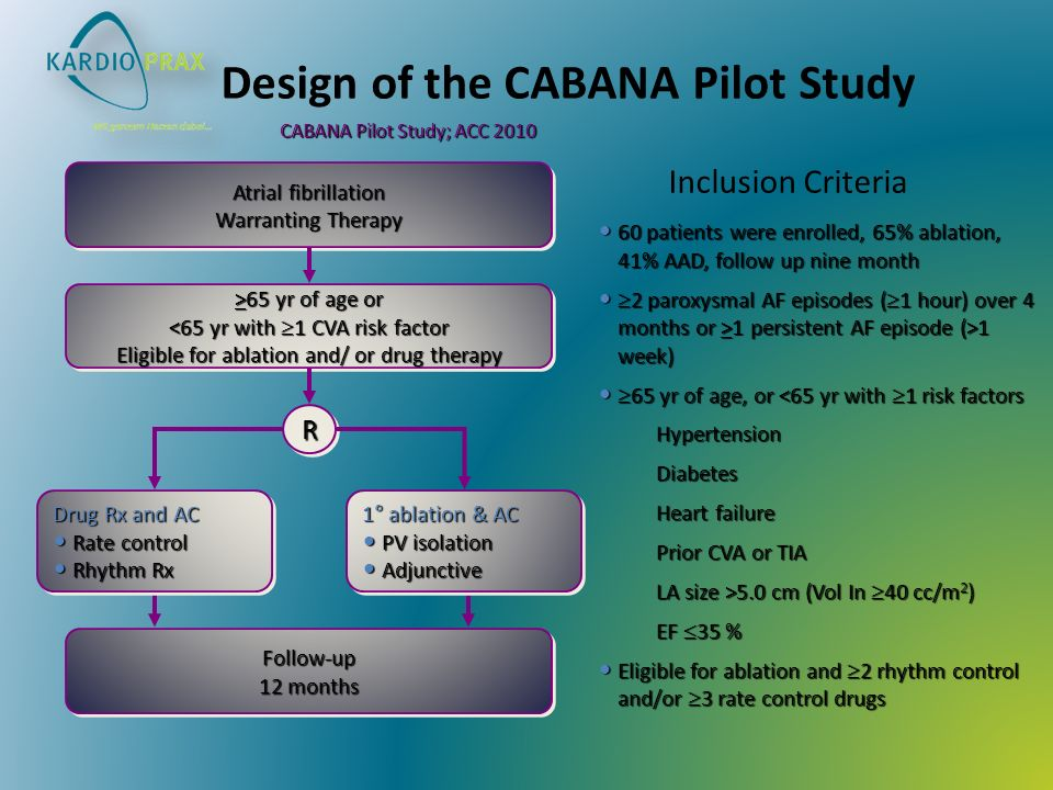 Design of the CABANA Pilot Study 60 patients were enrolled, 65% ablation, 41% AAD, follow up nine month 60 patients were enrolled, 65% ablation, 41% A