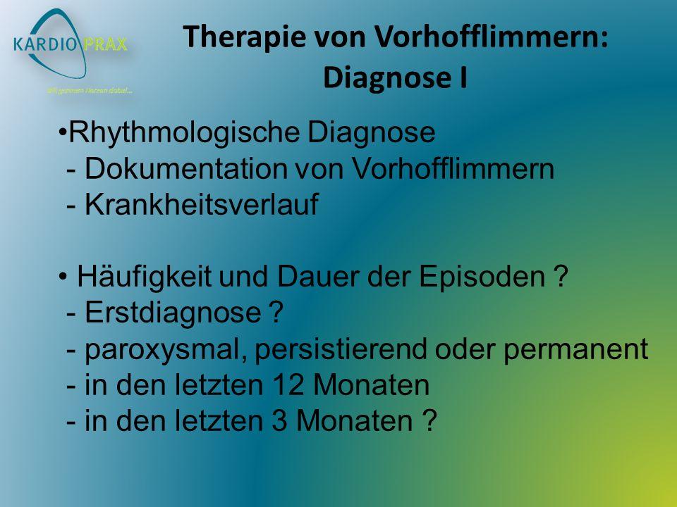 Therapie von Vorhofflimmern: Diagnose I Rhythmologische Diagnose - Dokumentation von Vorhofflimmern - Krankheitsverlauf Häufigkeit und Dauer der Episoden .