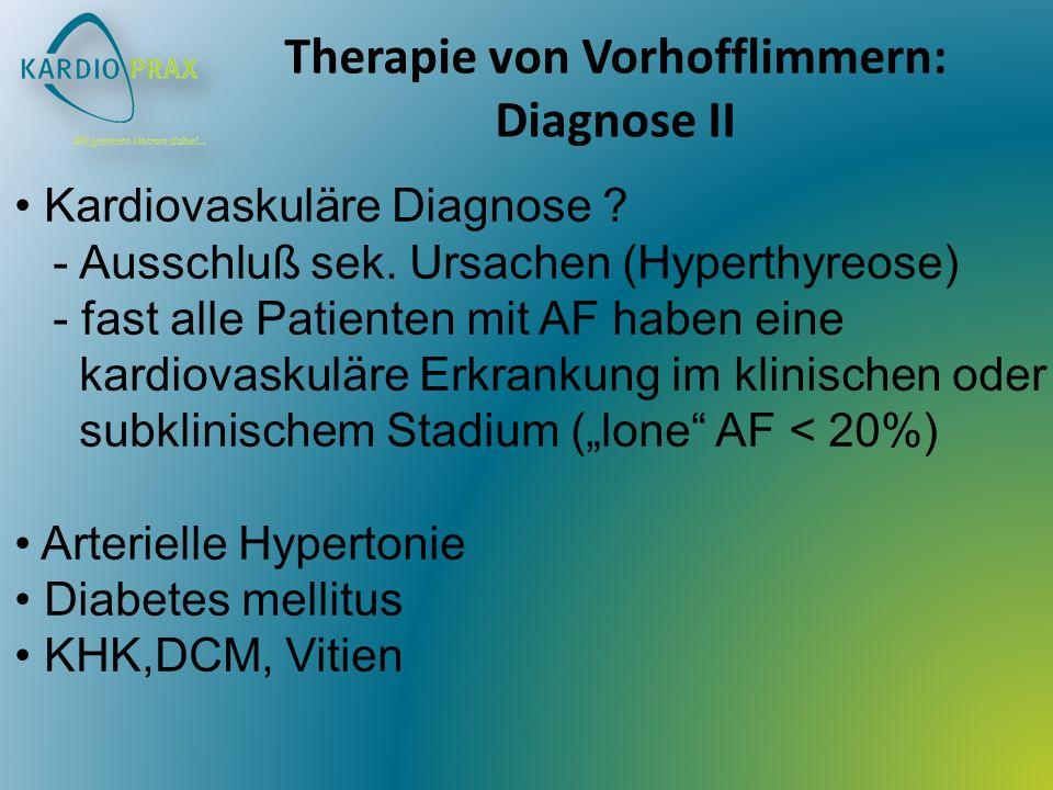 Therapie von Vorhofflimmern: Diagnose II Kardiovaskuläre Diagnose ? - Ausschluß sek. Ursachen (Hyperthyreose) - fast alle Patienten mit AF haben eine