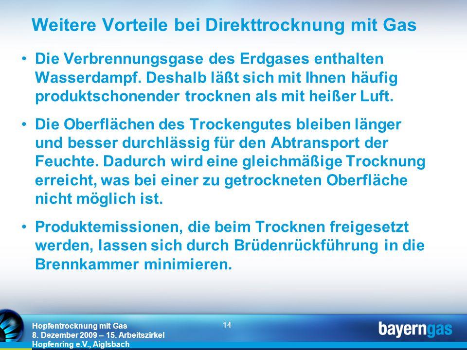 14 Hopfentrocknung mit Gas 8. Dezember 2009 – 15. Arbeitszirkel Hopfenring e.V., Aiglsbach Weitere Vorteile bei Direkttrocknung mit Gas Die Verbrennun
