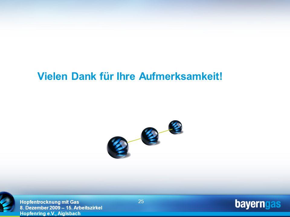 25 Hopfentrocknung mit Gas 8. Dezember 2009 – 15. Arbeitszirkel Hopfenring e.V., Aiglsbach Vielen Dank für Ihre Aufmerksamkeit!