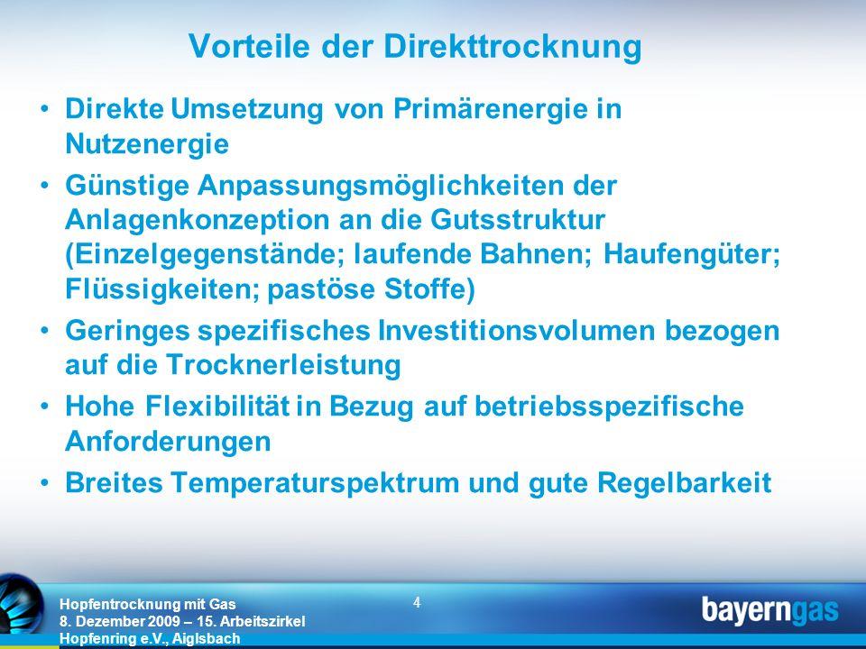 4 Hopfentrocknung mit Gas 8. Dezember 2009 – 15. Arbeitszirkel Hopfenring e.V., Aiglsbach Vorteile der Direkttrocknung Direkte Umsetzung von Primärene