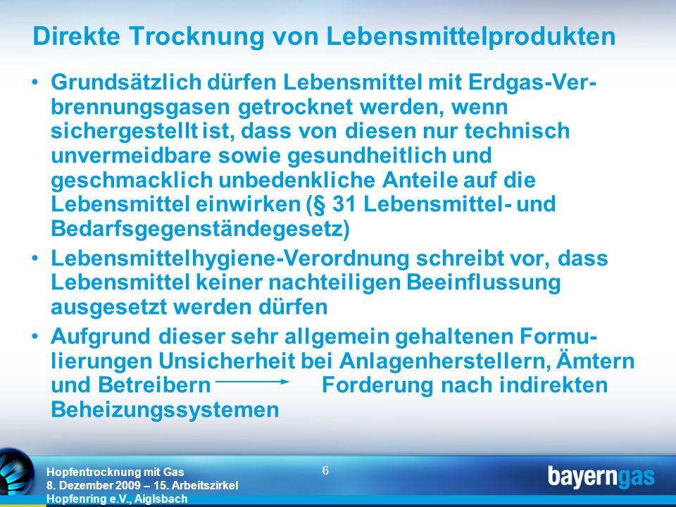 6 Hopfentrocknung mit Gas 8. Dezember 2009 – 15. Arbeitszirkel Hopfenring e.V., Aiglsbach Direkte Trocknung von Lebensmittelprodukten Grundsätzlich dü
