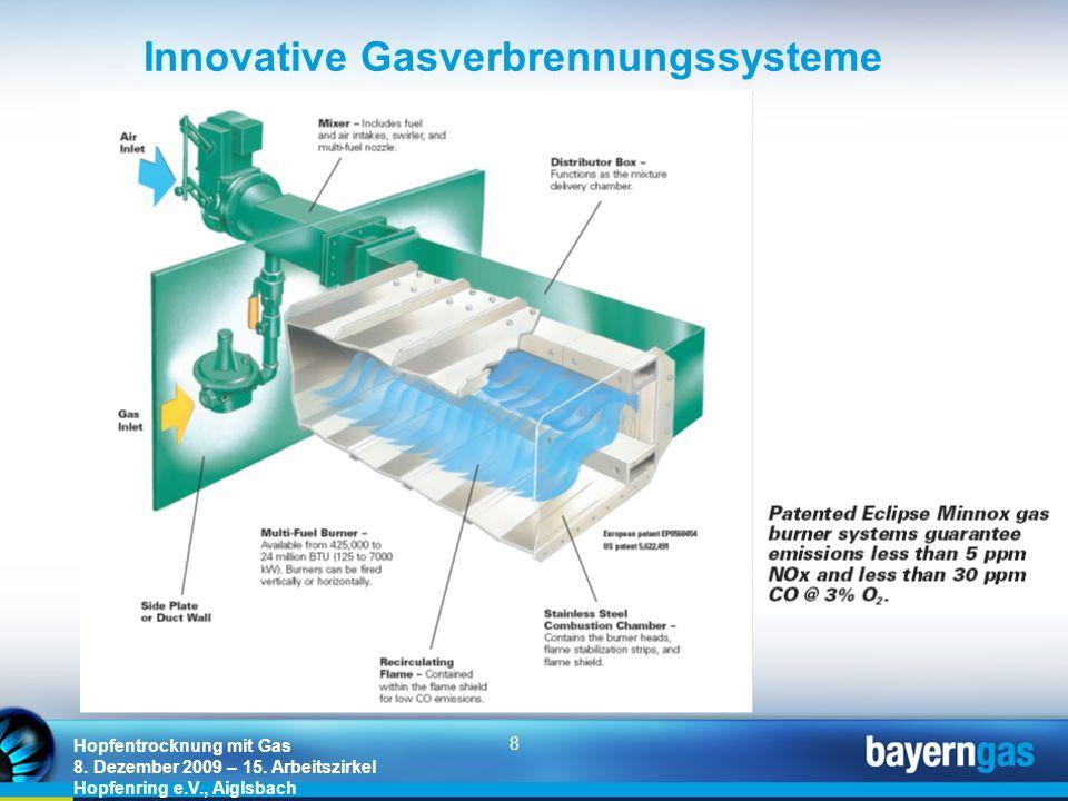 8 Hopfentrocknung mit Gas 8. Dezember 2009 – 15. Arbeitszirkel Hopfenring e.V., Aiglsbach Innovative Gasverbrennungssysteme