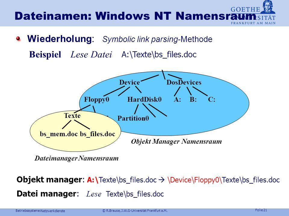 Betriebssysteme: © R.Brause, J.W.G-Universität Frankfurt a.M. Folie 20 Netzwerkdienste Namen im lokalen Netzlocal area network LAN Zusammenschluß mehr