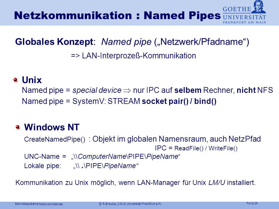 Betriebssysteme: © R.Brause, J.W.G-Universität Frankfurt a.M. Folie 25 Netzwerkdienste Netzkommunikation: Sockets Verbindungsorientierte Punkt-zu-Punk