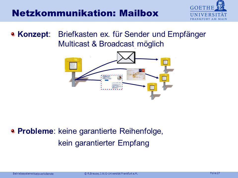 Betriebssysteme: © R.Brause, J.W.G-Universität Frankfurt a.M. Folie 26 Netzwerkdienste Netzkommunikation : Named Pipes Globales Konzept: Named pipe (N