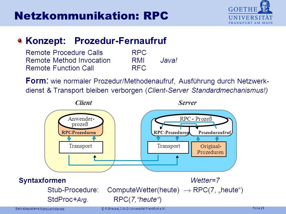 Betriebssysteme: © R.Brause, J.W.G-Universität Frankfurt a.M. Folie 28 Netzwerkdienste Netzkommunikation: Mailbox Beispiel Windows NTmail slots Briefk
