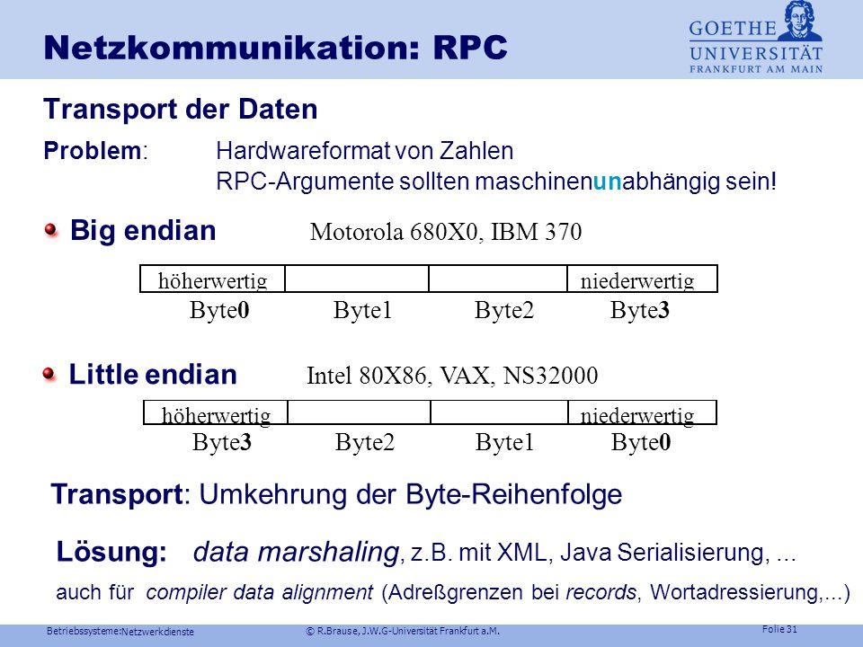 Betriebssysteme: © R.Brause, J.W.G-Universität Frankfurt a.M. Folie 30 Netzwerkdienste Netzkommunikation: RPCRPC-Ablauf Client Stub Netzwerk Stub Serv