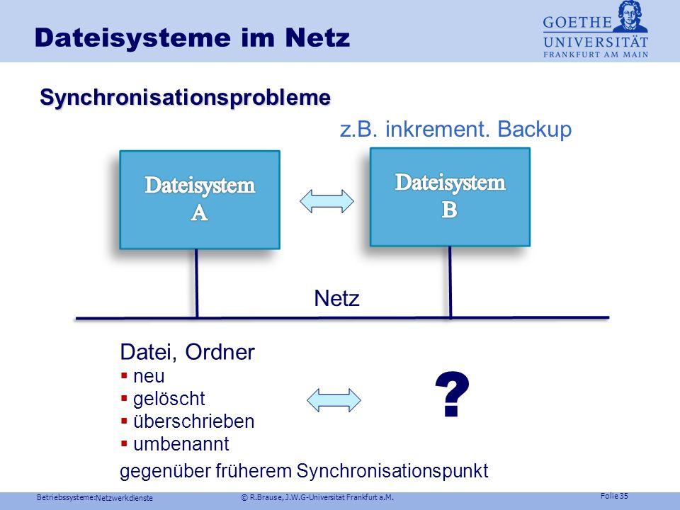 Betriebssysteme: © R.Brause, J.W.G-Universität Frankfurt a.M. Folie 34 Dienste im Netz Kommunikation in Netzen Dateisysteme im Netz Arbeitsmodelle im