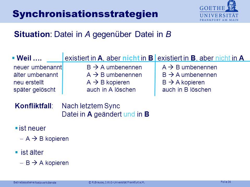Betriebssysteme: © R.Brause, J.W.G-Universität Frankfurt a.M. Folie 35 Netzwerkdienste Dateisysteme im NetzSynchronisationsprobleme Netz z.B. inkremen