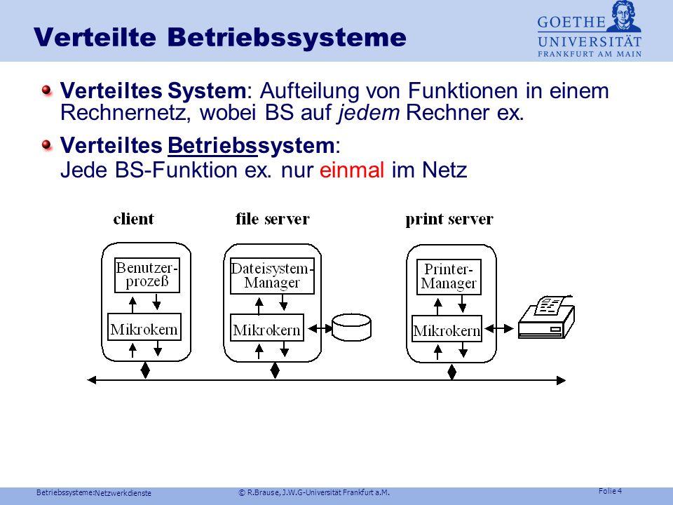 Betriebssysteme: © R.Brause, J.W.G-Universität Frankfurt a.M. Folie 3 Netzwerkdienste Netzwerk-Nutzen electronic mail Kommunikation: Terminabsprachen,