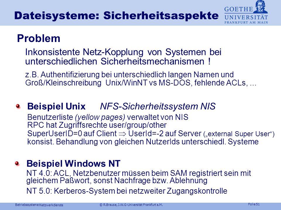 Betriebssysteme: © R.Brause, J.W.G-Universität Frankfurt a.M. Folie 50 Netzwerkdienste Dateisysteme im Netz Beispiel Windows NTNetzdateisystem Verbind