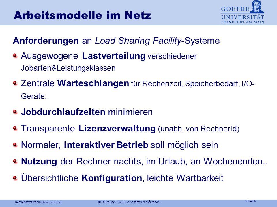 Betriebssysteme: © R.Brause, J.W.G-Universität Frankfurt a.M. Folie 55 Dienste im Netz Kommunikation in Netzen Dateisysteme im Netz Arbeitsmodelle im