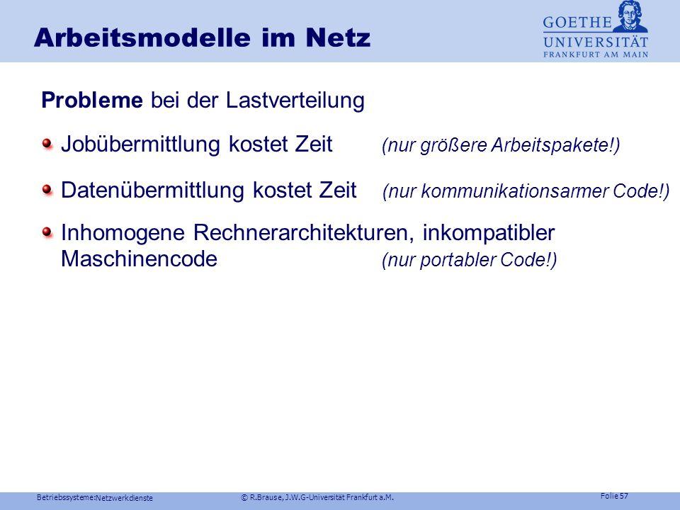 Betriebssysteme: © R.Brause, J.W.G-Universität Frankfurt a.M. Folie 56 Netzwerkdienste Arbeitsmodelle im Netz Anforderungen an Load Sharing Facility-S