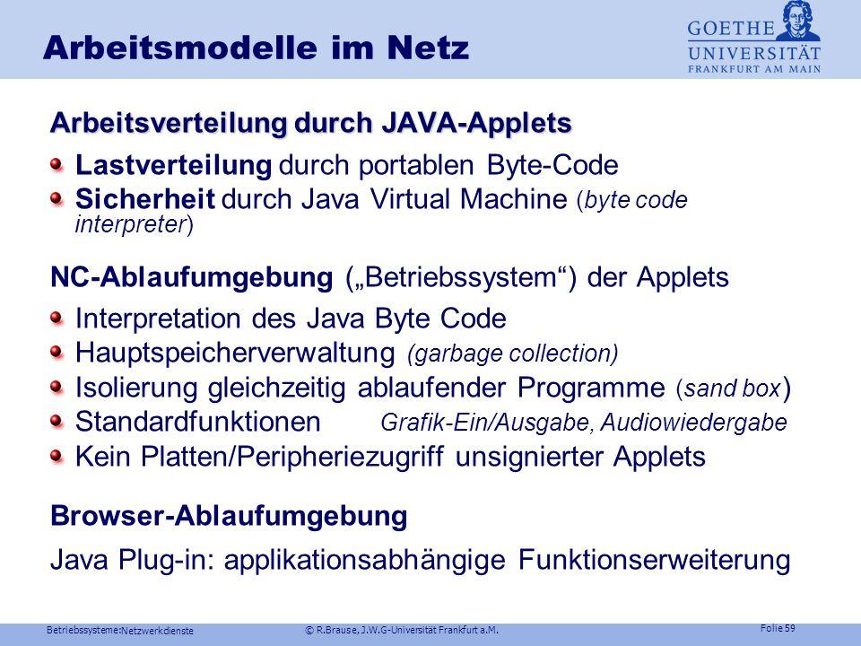 Betriebssysteme: © R.Brause, J.W.G-Universität Frankfurt a.M. Folie 58 Netzwerkdienste Arbeitsmodelle im Netz Konzept Netzcomputer NC: HW: CPU, Haupts