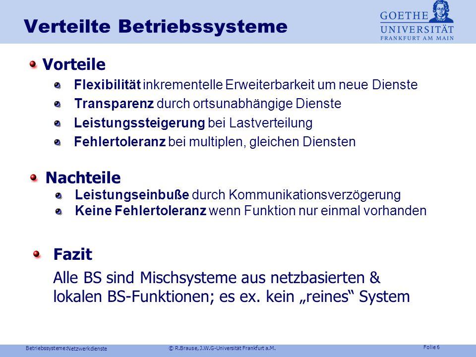 Betriebssysteme: © R.Brause, J.W.G-Universität Frankfurt a.M. Folie 5 MACH- Betriebssystemkern Mach-Kern Scheduler, Nachrichtenübermittlung, Basic I/O