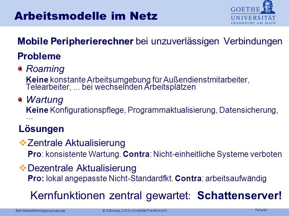 Betriebssysteme: © R.Brause, J.W.G-Universität Frankfurt a.M. Folie 59 Netzwerkdienste Arbeitsmodelle im Netz Arbeitsverteilung durch JAVA-Applets Las