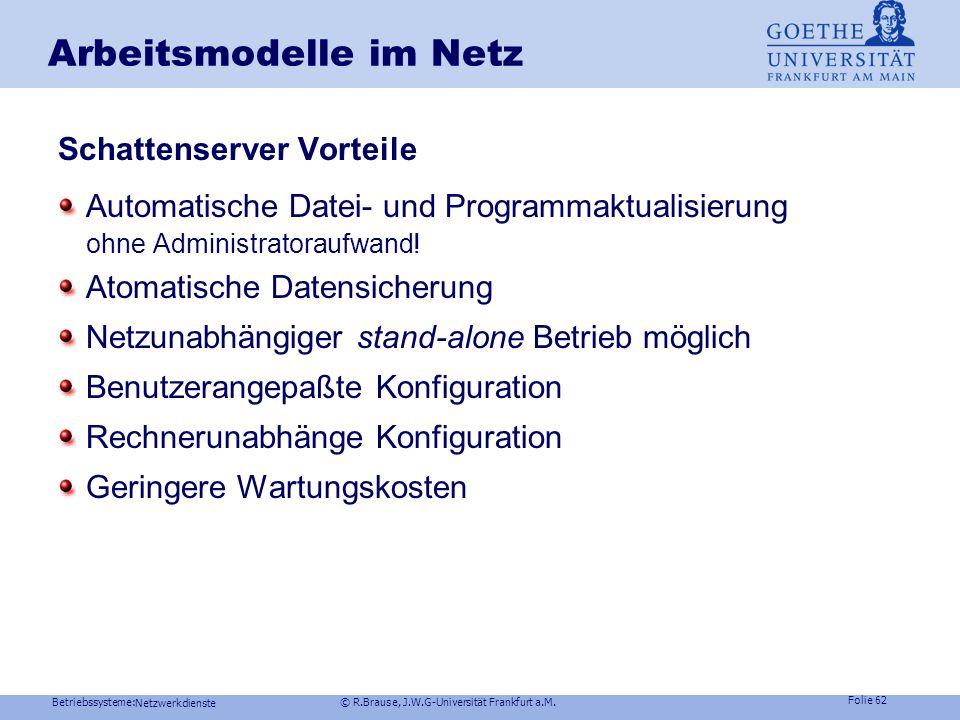 Betriebssysteme: © R.Brause, J.W.G-Universität Frankfurt a.M. Folie 61 Netzwerkdienste Arbeitsmodelle im Netz Schattenserver zur Datenhaltung Initiale