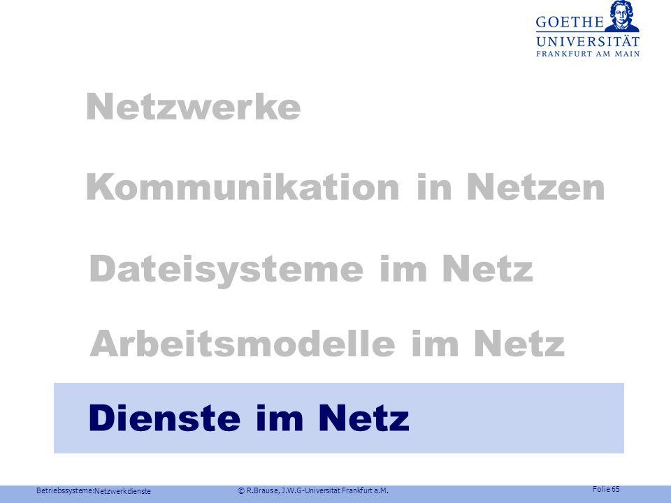 Betriebssysteme: © R.Brause, J.W.G-Universität Frankfurt a.M. Folie 64 Netzwerkdienste Arbeitsmodelle im Netz Windows NTSchattenserver Deklaration von
