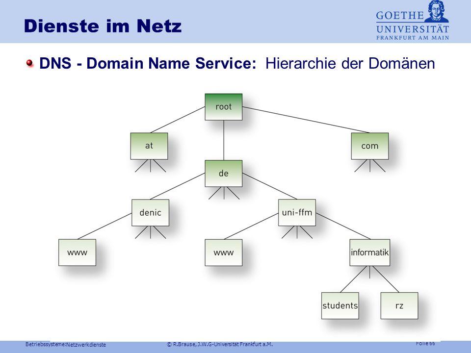 Betriebssysteme: © R.Brause, J.W.G-Universität Frankfurt a.M. Folie 65 Dienste im Netz Kommunikation in Netzen Dateisysteme im Netz Arbeitsmodelle im