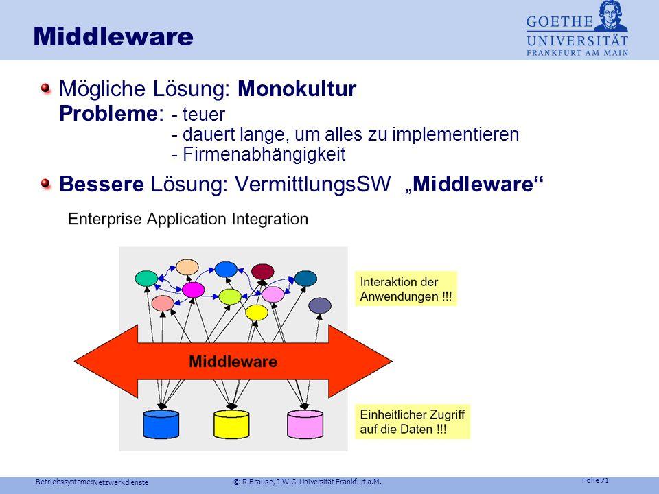 Betriebssysteme: © R.Brause, J.W.G-Universität Frankfurt a.M. Folie 70 Netzwerkdienste Middleware Problem: heterogener Chaos aus Produkten und Normen