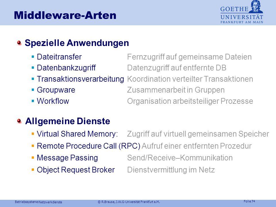 Betriebssysteme: © R.Brause, J.W.G-Universität Frankfurt a.M. Folie 73 Netzwerkdienste Middleware Middleware und 3-tiers System 3-Schichten-System (SA