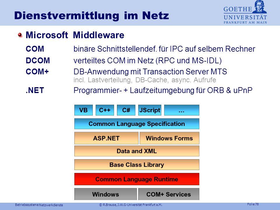Betriebssysteme: © R.Brause, J.W.G-Universität Frankfurt a.M. Folie 77 Netzwerkdienste Anwendung: Thin client/Thick Server Dienstvermittlung im Netz J