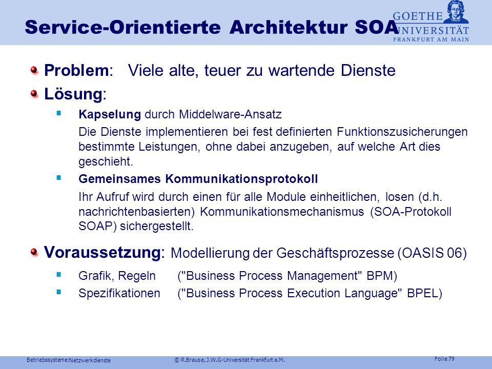 Betriebssysteme: © R.Brause, J.W.G-Universität Frankfurt a.M. Folie 78 Netzwerkdienste Dienstvermittlung im Netz Microsoft Middleware COMbinäre Schnit