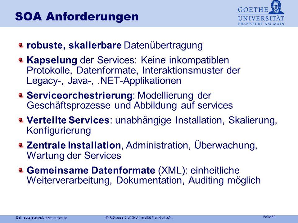 Betriebssysteme: © R.Brause, J.W.G-Universität Frankfurt a.M. Folie 81 Netzwerkdienste Beispiel: Web Services WOA entdecken veröffentlichen entdecken