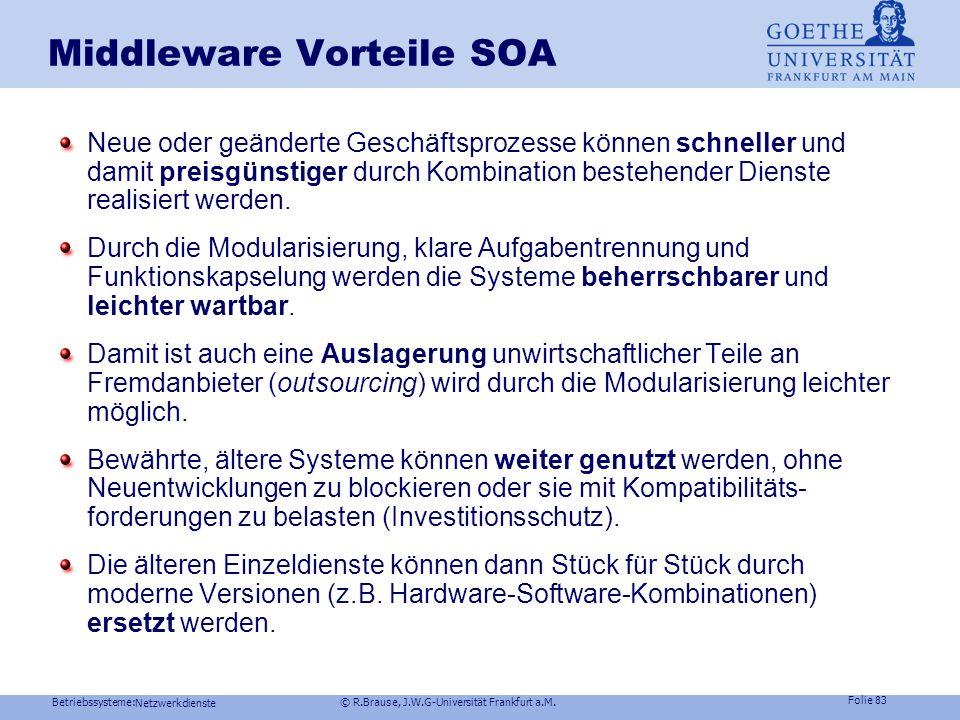 Betriebssysteme: © R.Brause, J.W.G-Universität Frankfurt a.M. Folie 82 Netzwerkdienste SOA Anforderungen robuste, skalierbare Datenübertragung Kapselu