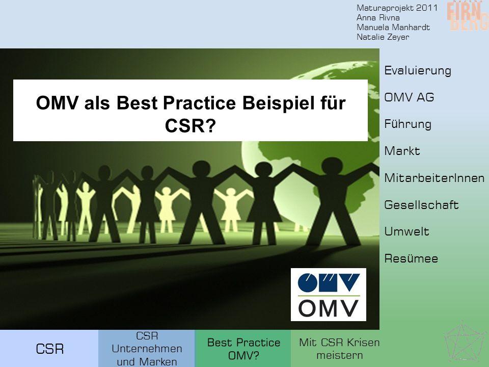 Maturaprojekt 2011 Anna Rivna Manuela Manhardt Natalie Zeyer CSR OMV als Best Practice Beispiel für CSR.