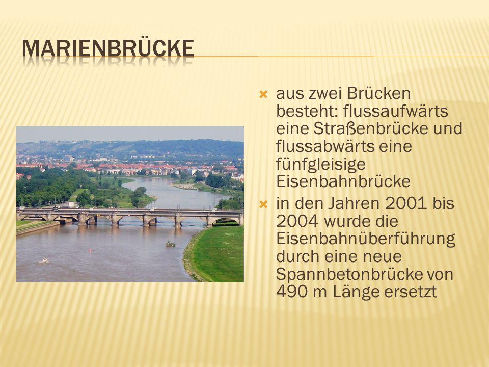 aus zwei Brücken besteht: flussaufwärts eine Straßenbrücke und flussabwärts eine fünfgleisige Eisenbahnbrücke in den Jahren 2001 bis 2004 wurde die Eisenbahnüberführung durch eine neue Spannbetonbrücke von 490 m Länge ersetzt