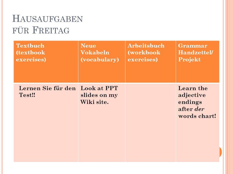 H AUSAUFGABEN FÜR F REITAG Textbuch (textbook exercises) Neue Vokabeln (vocabulary) Arbeitsbuch (workbook exercises) Grammar Handzettel/ Projekt Lerne