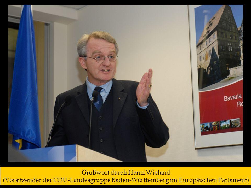 Grußwort durch Frau Dr. Weisgerber (Mitglied des Europäischen Parlaments, Unterfranken/Bayern )