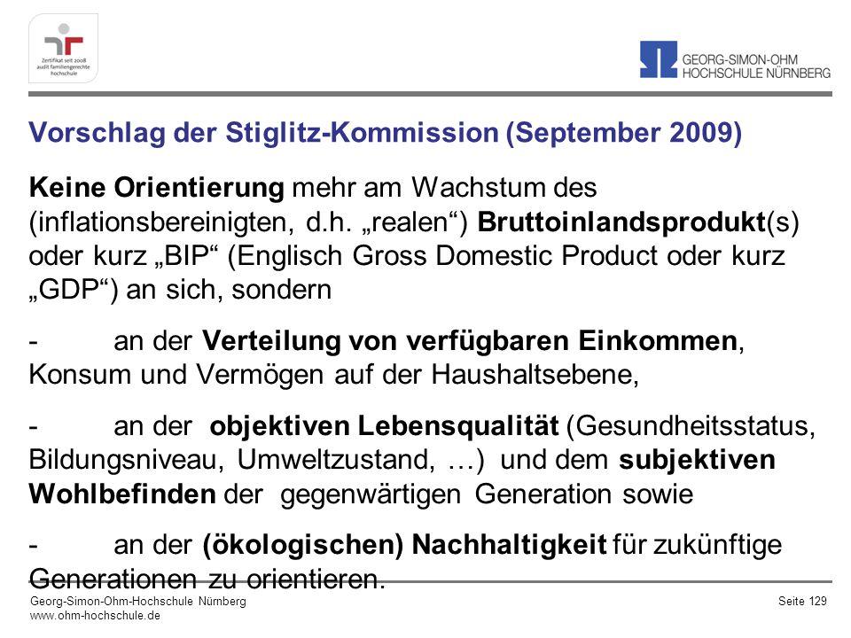 Vorschlag der Stiglitz-Kommission (September 2009) Keine Orientierung mehr am Wachstum des (inflationsbereinigten, d.h.