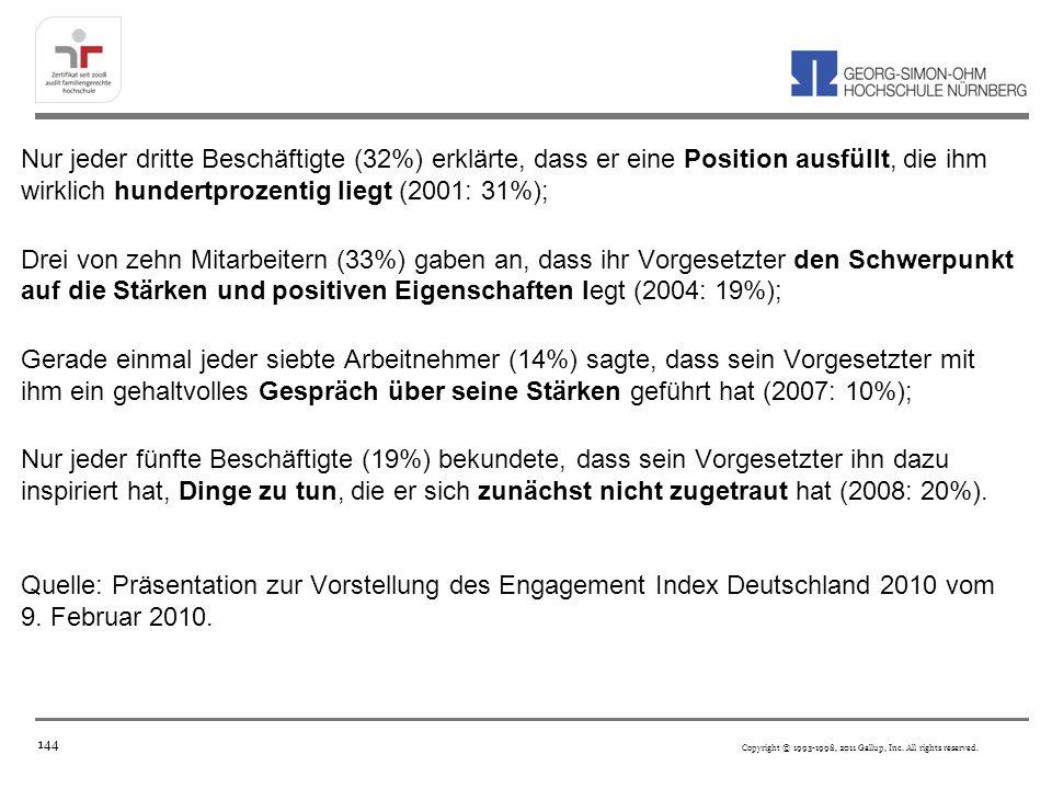 Nur jeder dritte Beschäftigte (32%) erklärte, dass er eine Position ausfüllt, die ihm wirklich hundertprozentig liegt (2001: 31%); Drei von zehn Mitarbeitern (33%) gaben an, dass ihr Vorgesetzter den Schwerpunkt auf die Stärken und positiven Eigenschaften legt (2004: 19%); Gerade einmal jeder siebte Arbeitnehmer (14%) sagte, dass sein Vorgesetzter mit ihm ein gehaltvolles Gespräch über seine Stärken geführt hat (2007: 10%); Nur jeder fünfte Beschäftigte (19%) bekundete, dass sein Vorgesetzter ihn dazu inspiriert hat, Dinge zu tun, die er sich zunächst nicht zugetraut hat (2008: 20%).