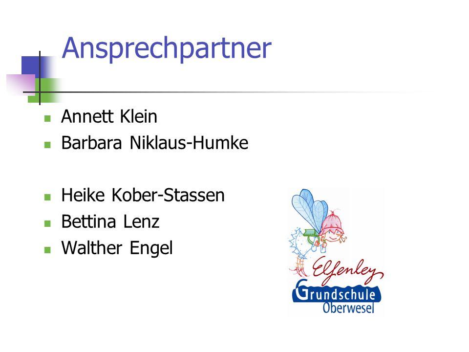 Ansprechpartner Annett Klein Barbara Niklaus-Humke Heike Kober-Stassen Bettina Lenz Walther Engel