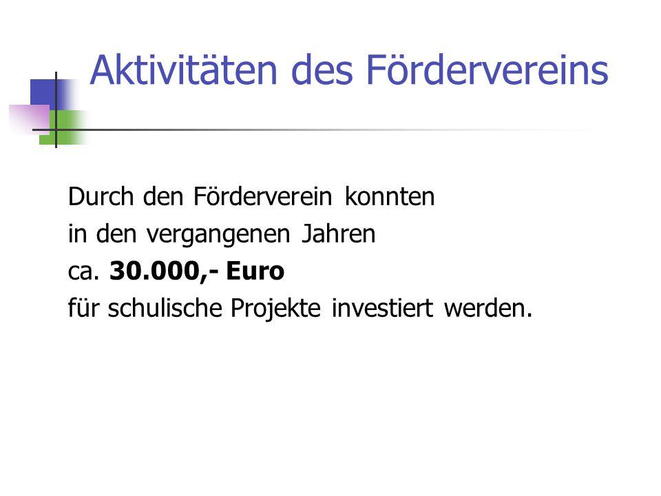Aktivitäten des Fördervereins Durch den Förderverein konnten in den vergangenen Jahren ca.