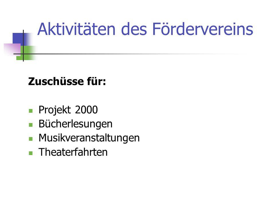 Aktivitäten des Fördervereins Zuschüsse für: Projekt 2000 Bücherlesungen Musikveranstaltungen Theaterfahrten