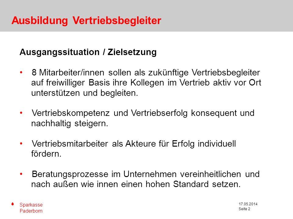 S Sparkasse Paderborn Seite 2 17.05.2014 Seite 2 Ausgangssituation / Zielsetzung 8 Mitarbeiter/innen sollen als zukünftige Vertriebsbegleiter auf frei