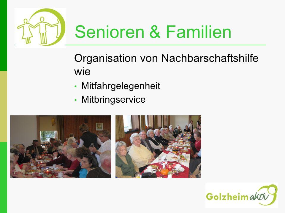 Senioren & Familien Organisation von Nachbarschaftshilfe wie Mitfahrgelegenheit Mitbringservice