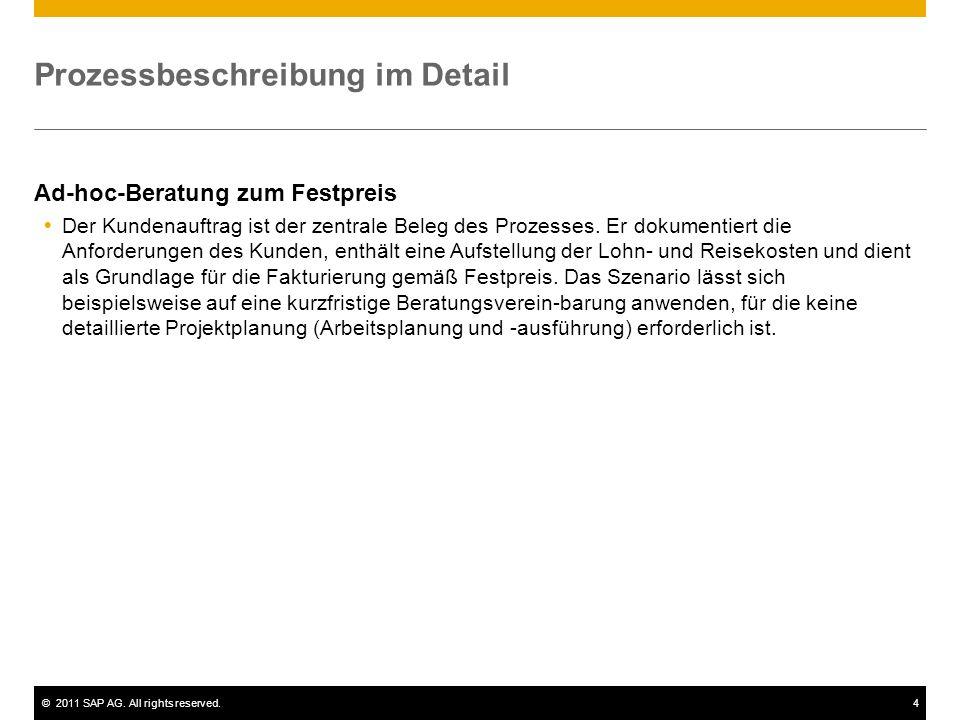 ©2011 SAP AG. All rights reserved.4 Prozessbeschreibung im Detail Ad-hoc-Beratung zum Festpreis Der Kundenauftrag ist der zentrale Beleg des Prozesses