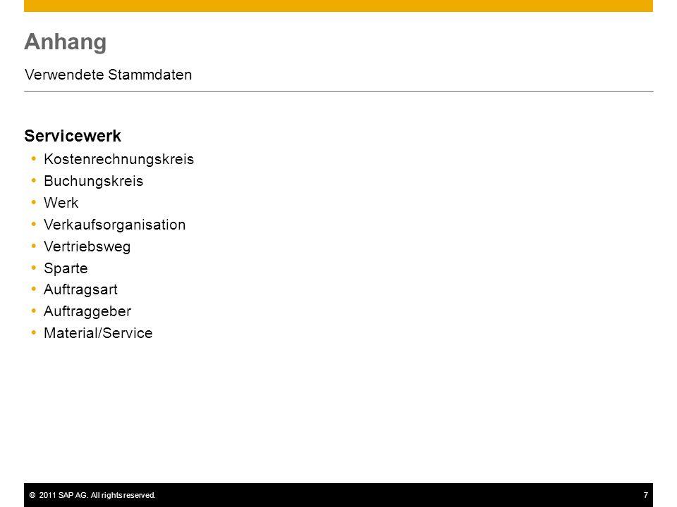 ©2011 SAP AG. All rights reserved.7 Anhang Verwendete Stammdaten Servicewerk Kostenrechnungskreis Buchungskreis Werk Verkaufsorganisation Vertriebsweg
