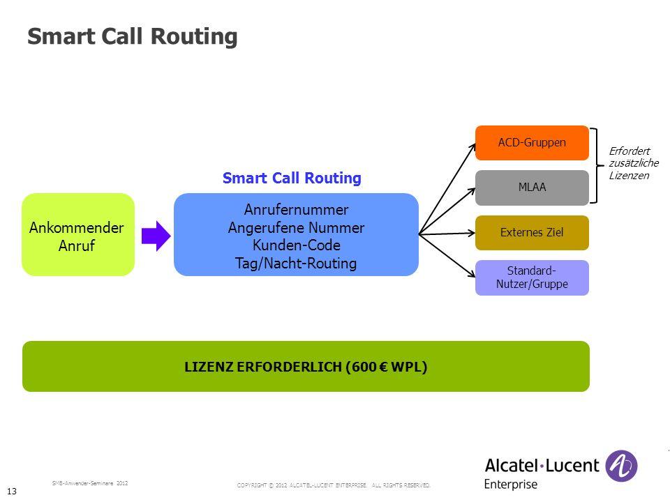COPYRIGHT © 2012 ALCATEL-LUCENT ENTERPRISE. ALL RIGHTS RESERVED. SMB-Anwender-Seminare 2012 Erfordert zusätzliche Lizenzen Smart Call Routing Ankommen
