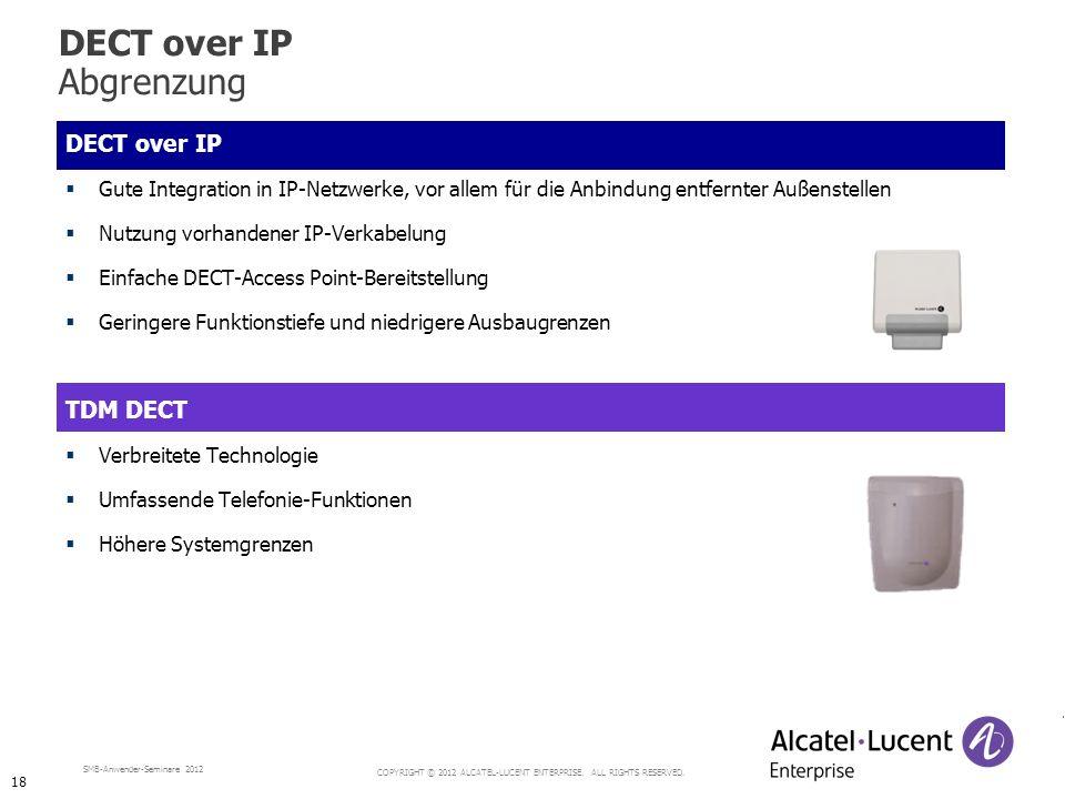 COPYRIGHT © 2012 ALCATEL-LUCENT ENTERPRISE. ALL RIGHTS RESERVED. SMB-Anwender-Seminare 2012 DECT over IP Gute Integration in IP-Netzwerke, vor allem f