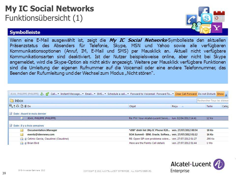 COPYRIGHT © 2012 ALCATEL-LUCENT ENTERPRISE. ALL RIGHTS RESERVED. SMB-Anwender-Seminare 2012 Symbolleiste Wenn eine E-Mail ausgewählt ist, zeigt die My