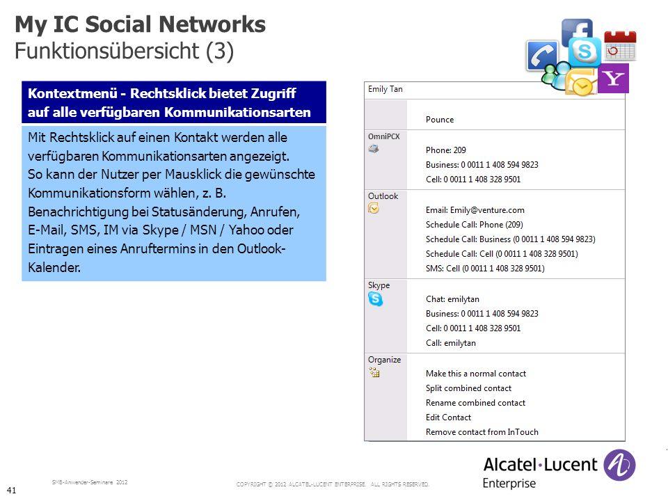 COPYRIGHT © 2012 ALCATEL-LUCENT ENTERPRISE. ALL RIGHTS RESERVED. SMB-Anwender-Seminare 2012 Kontextmenü - Rechtsklick bietet Zugriff auf alle verfügba