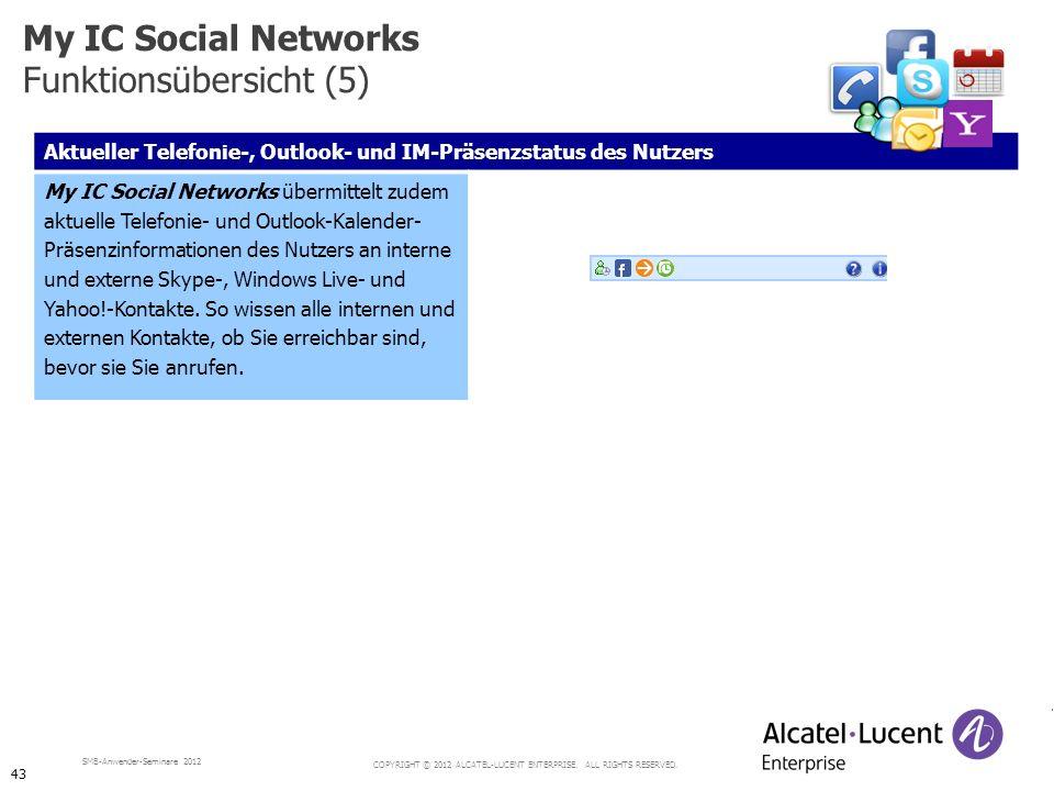 COPYRIGHT © 2012 ALCATEL-LUCENT ENTERPRISE. ALL RIGHTS RESERVED. SMB-Anwender-Seminare 2012 Aktueller Telefonie-, Outlook- und IM-Präsenzstatus des Nu